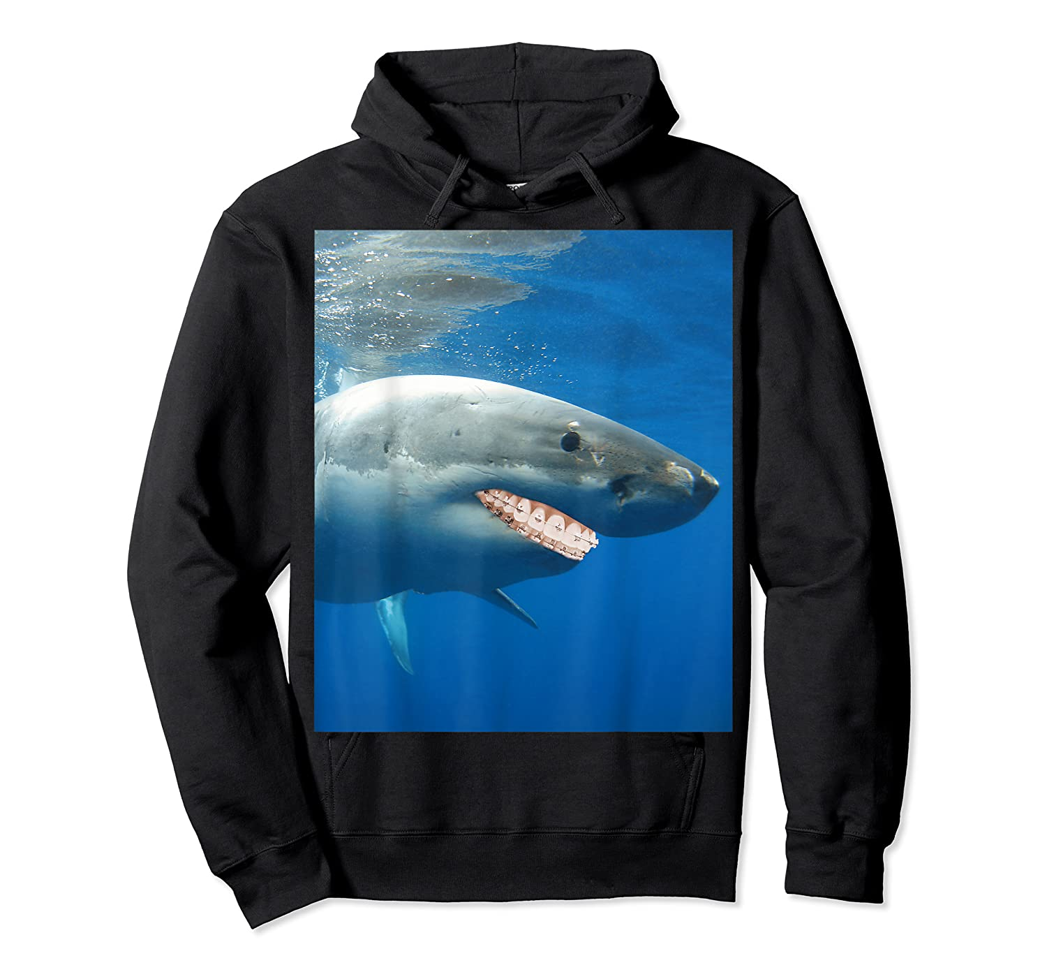 Great Shark With Braces And Human Th Shirts Unisex Pullover Hoodie