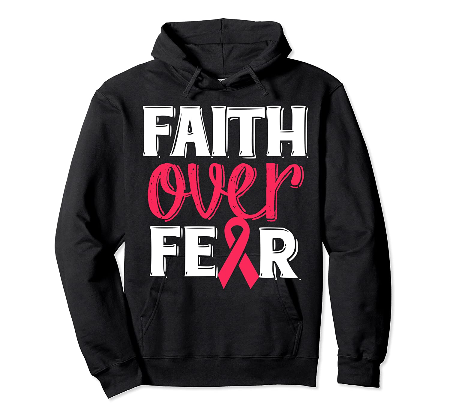 Faith Over R Breast Cancer Awareness Gift Shirts Unisex Pullover Hoodie