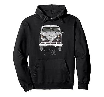 2317fe0251 Amazon.com  Vintage 1960s Hippie Bus Life Hipster Van Hoodie Shirt ...