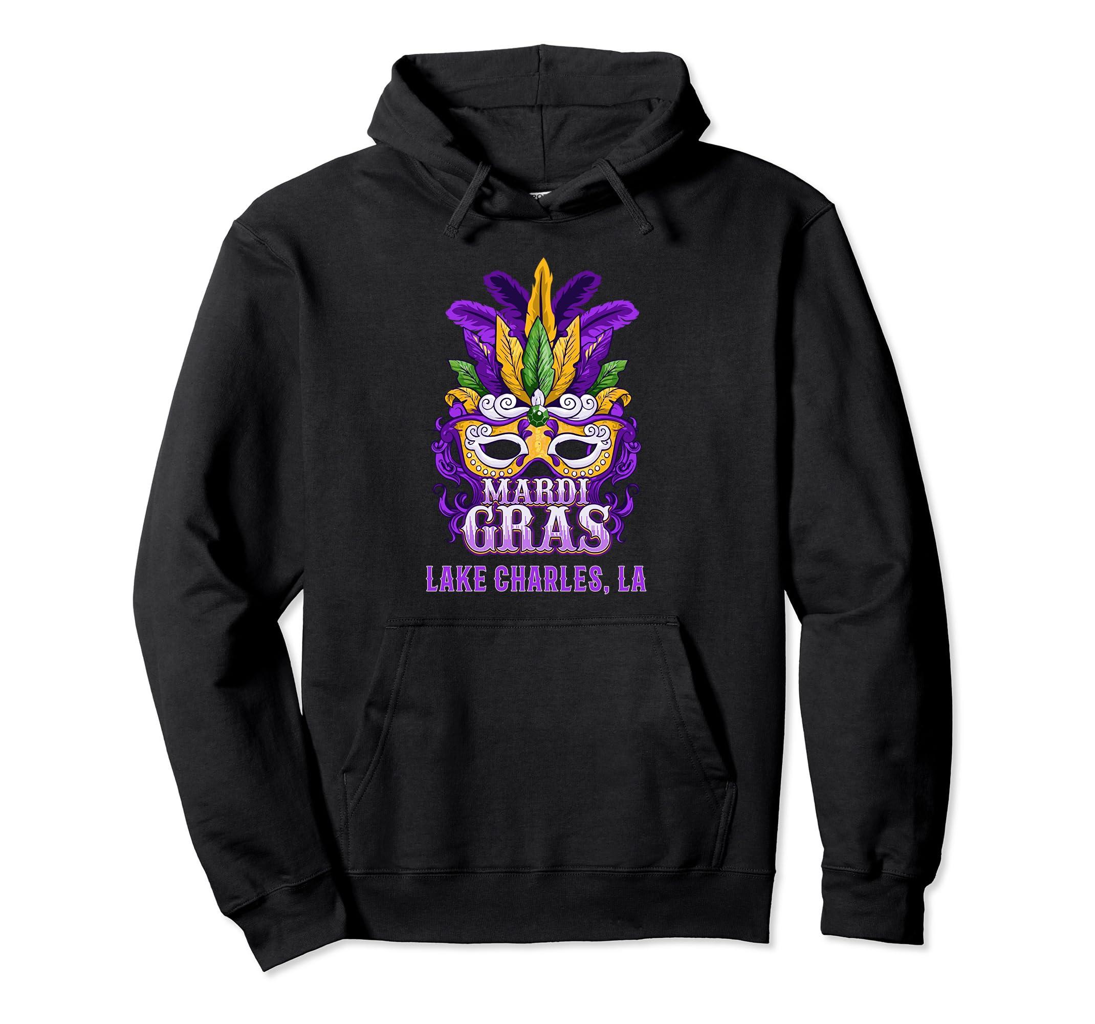 Mardi Gras Parade Lake Charles Hoodie Sweatshirt Mask-SFL
