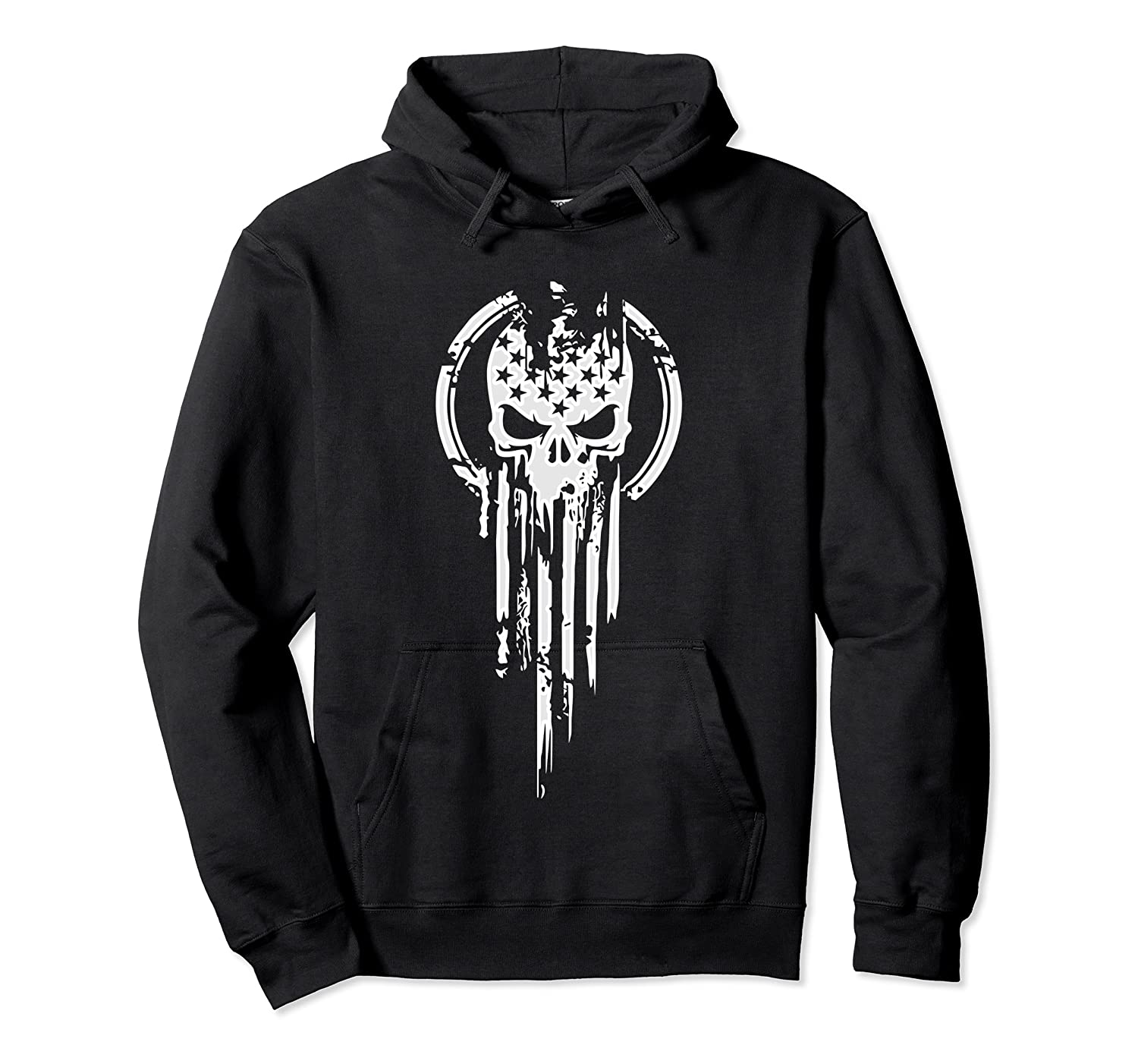 New American Warrior Flag Skull Military T-shirt Army Usa T-shirt Unisex Pullover Hoodie