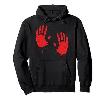 Amazon com: Happy Halloween Bloody Hand Print Hoodie Costume