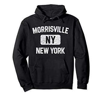 e963091598 Amazon.com: Morrisville Hoodie NY - Gym Style Distressed White Print ...