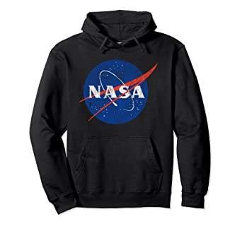 47095a08d Amazon.com: Nasa Pullover Hoodie Distressed Logo: Clothing