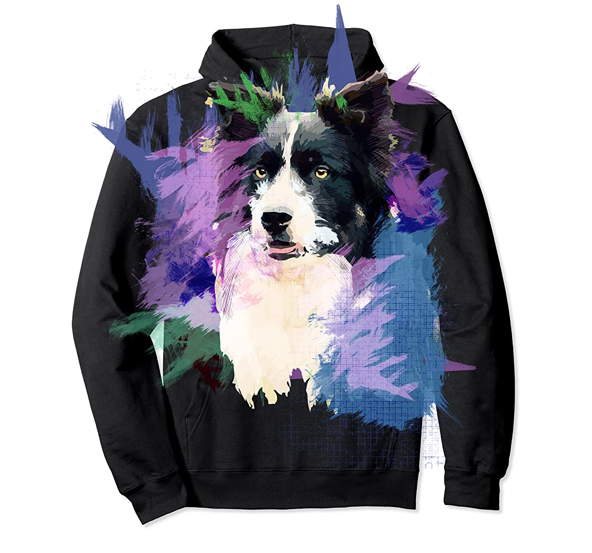 Border Collie T-Shirt Splash Art Dog Owner Gift Tee Shirt-Hoodie-Black