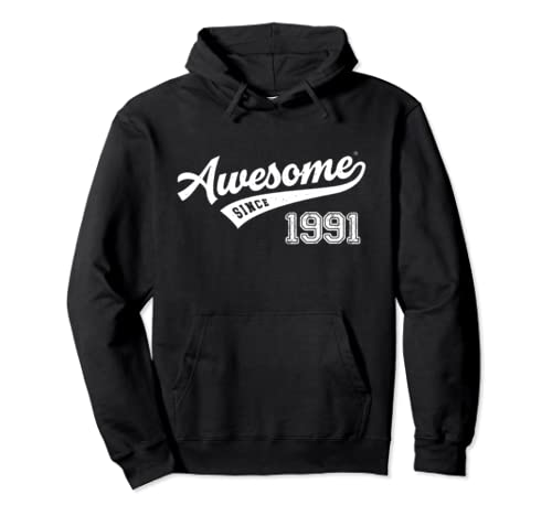 Awesome Since 1991 Old School Baseball 28th Birthday Gift Pullover Hoodie