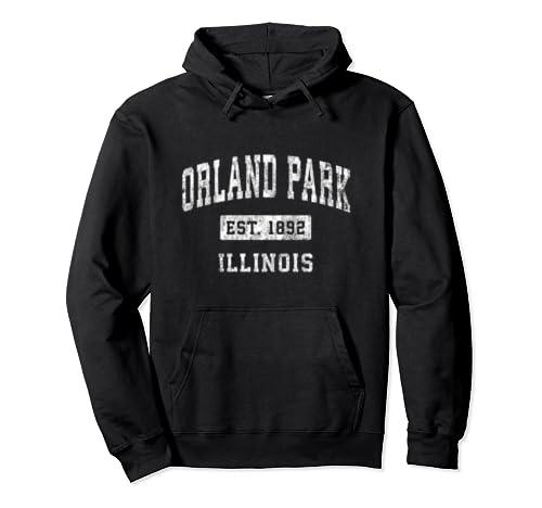 Orland Park Illinois Il Vintage Established Sports Design Pullover Hoodie