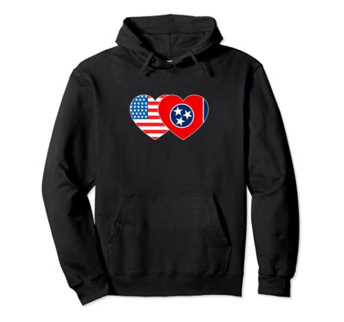 Tennessee &Usa Flag Twin Heart For Proud Americans Patriotic Pullover Hoodie
