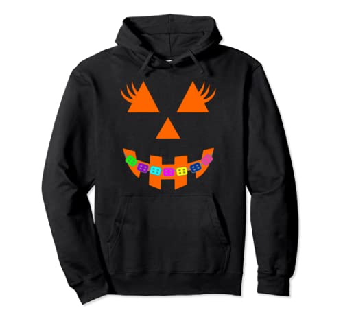 Halloween Pumpkin With Braces Orthodontist Costume Kids Pullover Hoodie