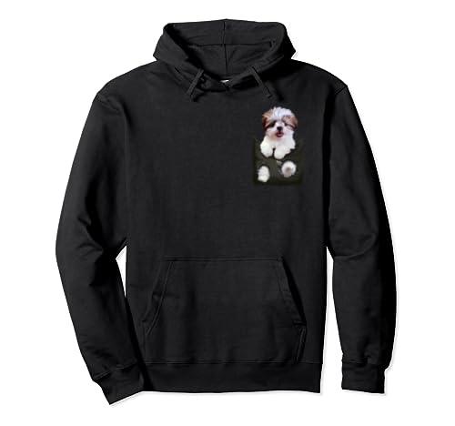 Shih Tzu In Pocket Puppy Pullover Hoodie
