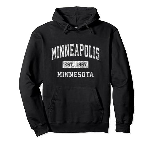 Minneapolis Minnesota Mn Vintage Established Sports Design Pullover Hoodie