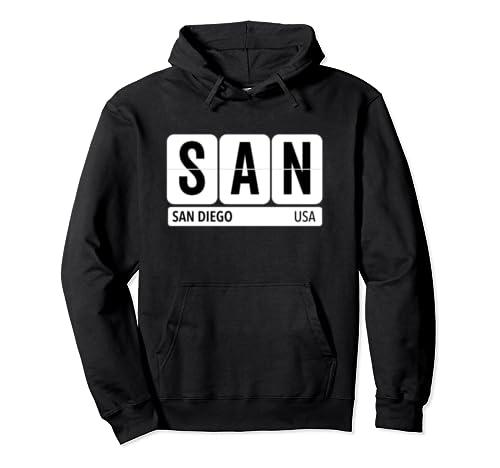 San San Diego California Travel Souvenir Black Text Pullover Hoodie