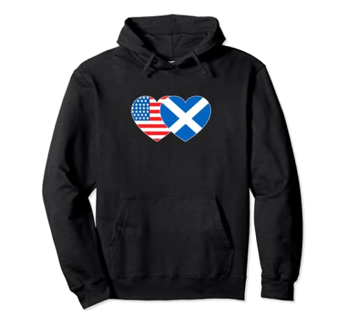 Scotland And Usa Flag Twin Heart For Scottish Americans Pullover Hoodie