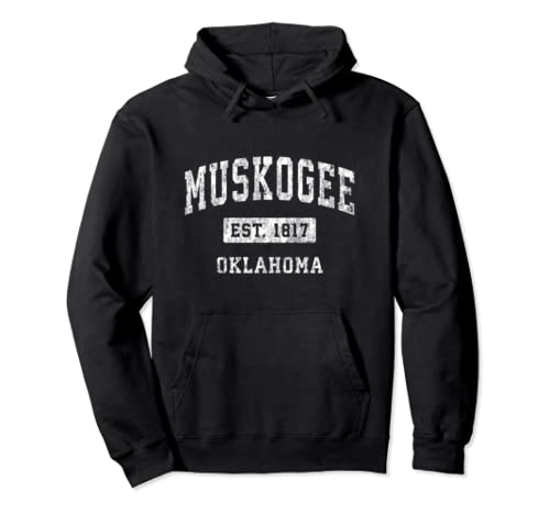 Muskogee Oklahoma Ok Vintage Established Sports Design Pullover Hoodie