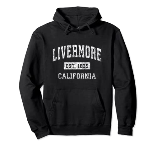 Livermore California Ca Vintage Established Sports Design Pullover Hoodie