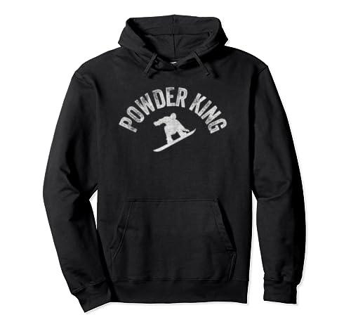 Powder King Snowboard Vintage Snowboarder Retro Style Pullover Hoodie