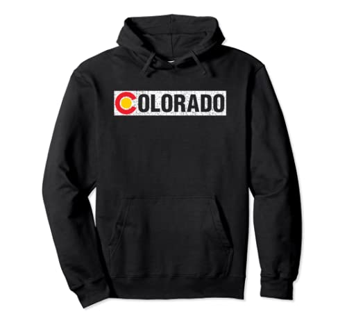 Colorado Home State Retro Vintage With Mountains At Sunset Pullover Hoodie