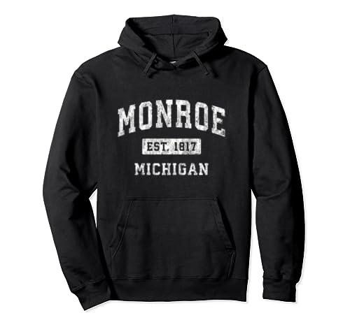 Monroe Michigan Mi Vintage Established Sports Design Pullover Hoodie