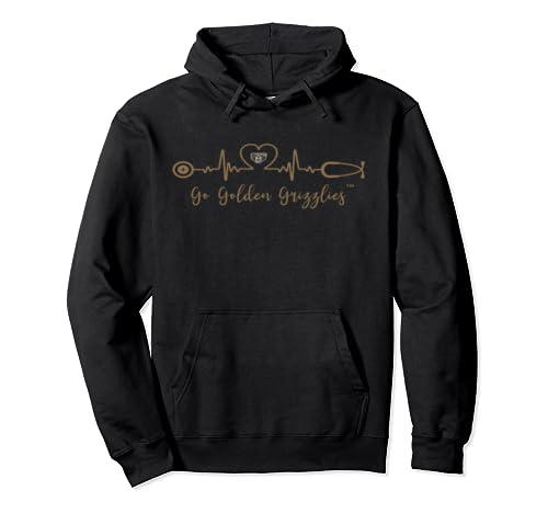 Oakland Golden Grizzlies Heart Ecg   Slogan   Apparel Pullover Hoodie