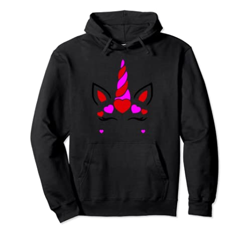 Unicorn Funny Cute Face Valentine's Women And Girls  Pullover Hoodie