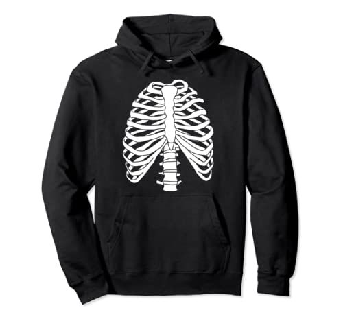 Skeleton Rib Cage Funny Halloween Anatomy Costume Gift Pullover Hoodie