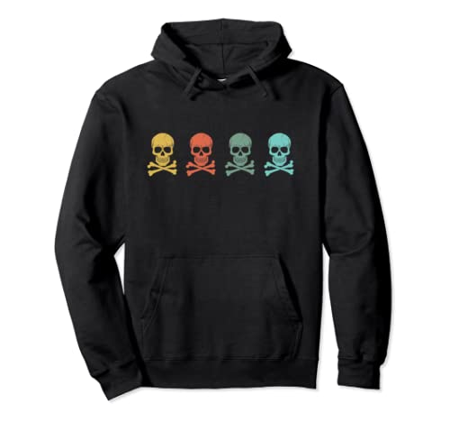 Vintage Pirate Skull 70s And 80s | Halloween Retro Pullover Hoodie