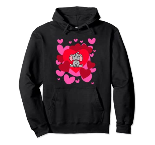 Elephant Love Valentine's Day Romantic Holiday Animal Humor Pullover Hoodie