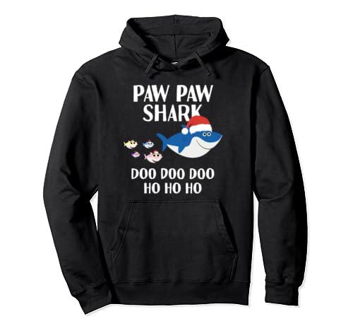 Paw Paw Grandpa Shark Doo Doo Santa Christmas Matching Gift  Pullover Hoodie
