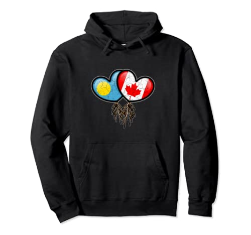 Palauan Canadian Flags Inside Hearts With Roots Pullover Hoodie