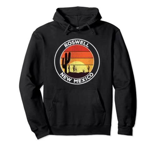 Vintage Roswell Nm Gift Desert Sunset Cactus Pullover Hoodie