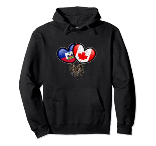 Haitian Canadian Flags Inside Hearts With Roots Pullover Hoodie