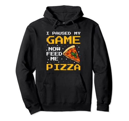 Funny Gamer Pizza And Gaming Foodie Pullover Hoodie
