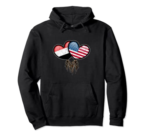Yemeni American Flags Inside Hearts With Roots Pullover Hoodie