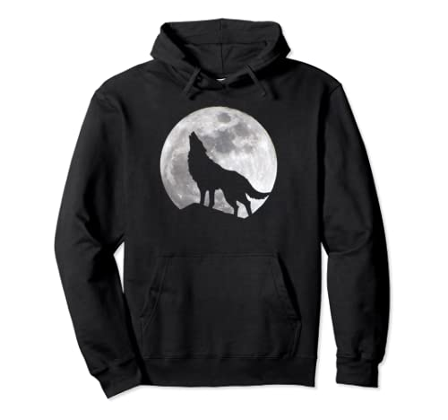 Full Moon And Wolf Nature Lovers Pullover Hoodie