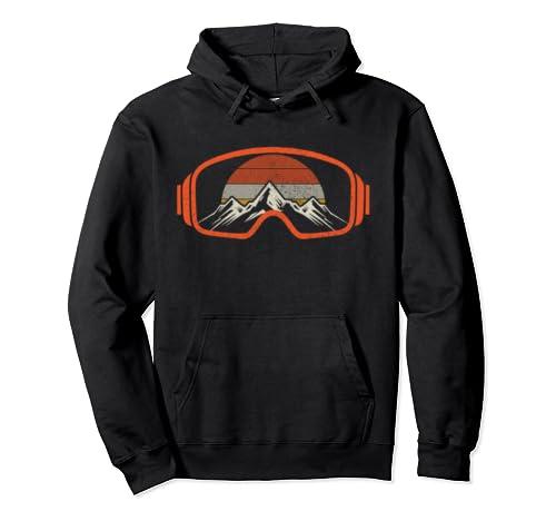 Ski & Snowboard Vintage Retro Mountains Winter Sports Gift Pullover Hoodie