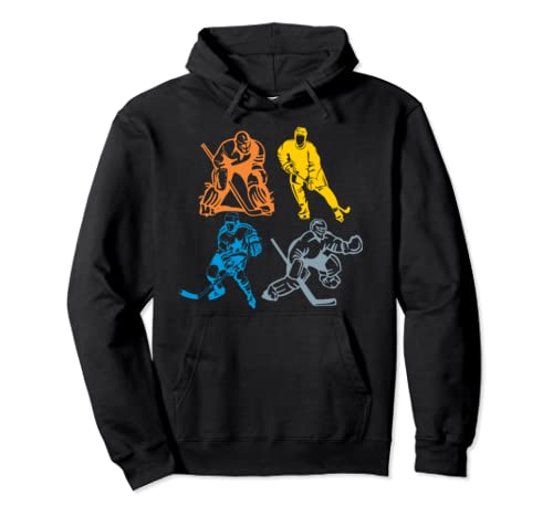 Vintage Retro Ice Hockey Player Classic Gift For Men Women Pullover Hoodie