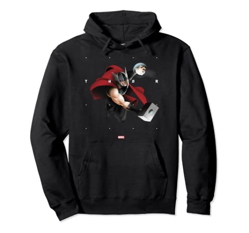 Marvel Thor Halftone Word Stack Portrait Pullover Hoodie