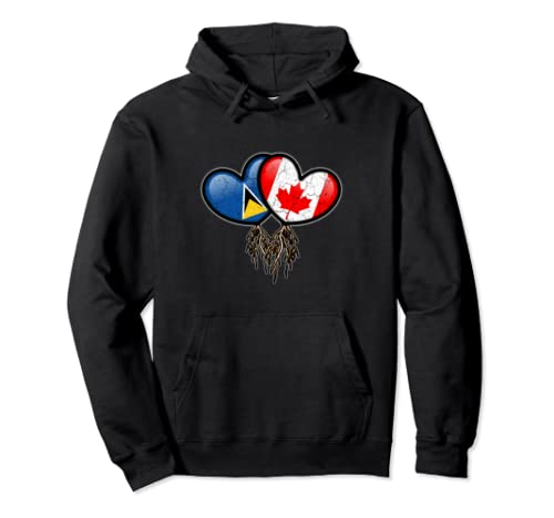 Saint Lucian Canadian Flags Inside Hearts With Roots Pullover Hoodie