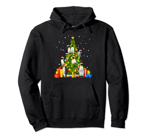 Funny Penguin Lover Christmas Tree X Mas Tree Gift Pullover Hoodie