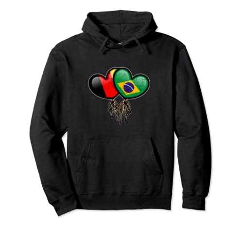 Germany And Brazil Heart Flags With Roots To Show Heritage Pullover Hoodie