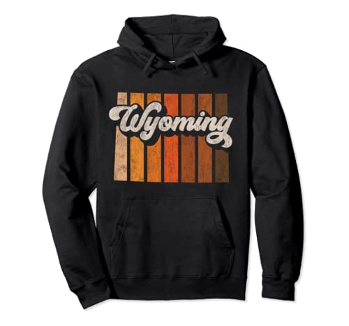 Retro Wyoming Home State 70s Stripes Distressed Silhouette Pullover Hoodie