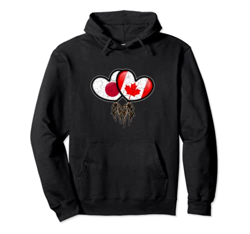 Japanese Canadian Flags Inside Hearts With Roots Pullover Hoodie