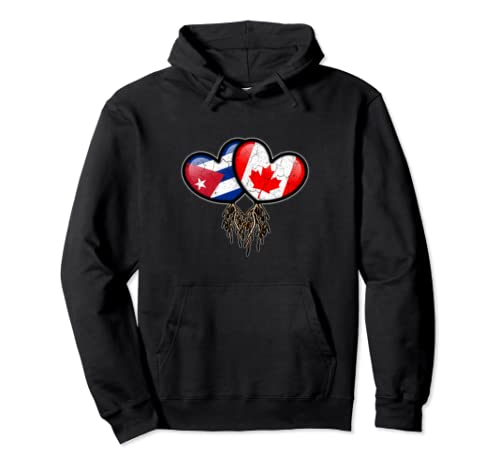 Cuban Canadian Flags Inside Hearts With Roots Pullover Hoodie