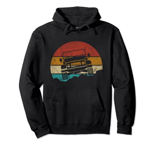 Vintage Jeeps Retro 70s Sunset Off Road Men Women Kids Gift Pullover Hoodie