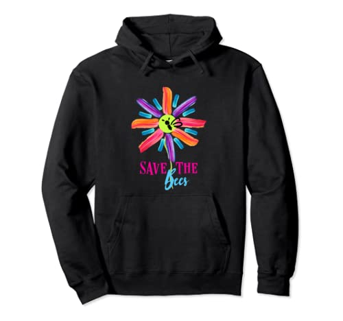 Save The Bees Colorful Flower Pullover Hoodie