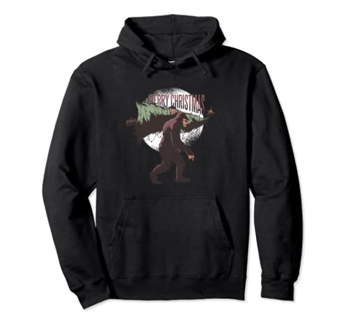 Bigfoot Carrying a Christmas Tree Merry Christmas X-Mas  Pullover Hoodie