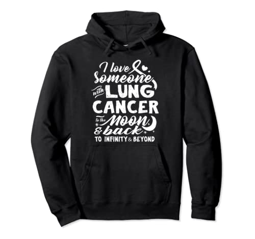To The Moon And Back Lung Cancer Awareness Ribbon Pullover Hoodie