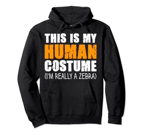 This Is My Human Costume I'm Really A Zebra Pullover Hoodie