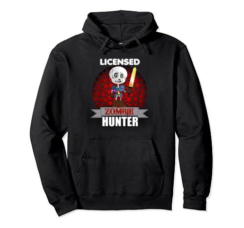 Licensed Zombie Hunter Skeleton Halloween Pullover Hoodie
