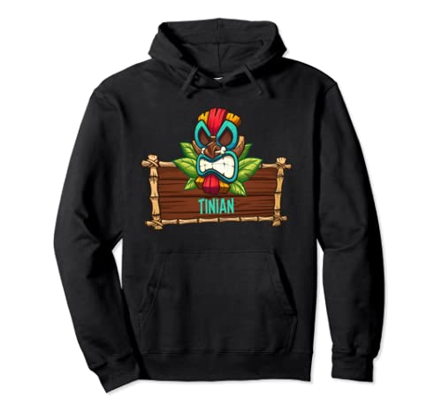 Tinian Tropical Tiki Mask Product Pacific Island Pullover Hoodie